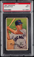 Baseball Cards:Singles (1950-1959), 1952 Bowman Nelson Fox #21 PSA NM 7....