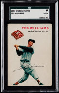 Baseball Cards:Singles (1950-1959), 1954 Wilson Franks Ted Williams SGC Authentic....