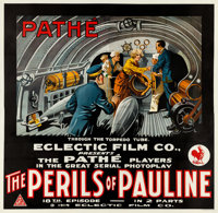 "The Perils of Pauline (Pathe - Eclectic, 1914). Six Sheet (79.5"" X 81.5"") Episode 18--""The Tragic Plunge..."