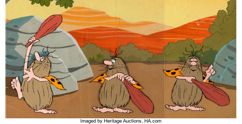 Old Caveman Show : The flintstones comedy show captain caveman production cel