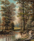 Fine Art - Painting, American:Contemporary   (1950 to present)  , William Robert Thrasher (American, 1908-1997). Creek Through theWoods. Oil on canvas. 24 x 20 inches (61.0 x 50.8 cm). ...