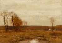 Bruce Crane (American, 1857-1937) November Meadows Oil on canvas 14 x 20 inches (35.6 x 50.8 cm)<