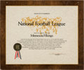 Football Collectibles:Others, 1970 Minnesota Vikings National Football League Certificate of Membership Plaque Signed by Pete Rozelle....