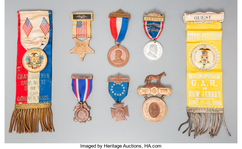A Large Group of Civil War Veteran's Badges, Medals and Ribbons