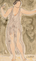 Works on Paper, Abraham Walkowitz (American, 1880-1965). Isadora Dancing . Watercolor, ink, and pencil on paper. 13-3/4 x 18-3/8 inches ...