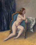 Fine Art - Painting, American:Modern  (1900 1949)  , Leon Kroll (American, 1884-1974). Nude on a Couch. Oil on canvas. 31-1/2 x 26-1/4 inches (80.0 x 66.7 cm). Signed lower ...