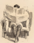 Fine Art - Work on Paper:Drawing, Joseph Hirsch (American, 1910-1981). Nude with News. Ink andpencil on paper. 15 x 11-1/2 inches (38.1 x 29.2 cm) (sight...