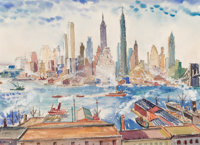 Oliver Smith (American, 1918-1994) New York City Skyline, 1939 Watercolor and pencil on paper 13-