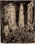 Fine Art - Work on Paper:Drawing, Abraham Walkowitz (American, 1880-1965). Times Square, NewYork. Ink on paper. 10 x 8 inches (25.4 x 20.3 cm) (sight).S...