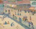 Fine Art - Painting, American:Modern  (1900 1949)  , Emma Fordyce MacRae (American, 1887-1974). Atlantic City Boardwalk. Oil and mixed media on board. 13-3/4 x 17 inches (34...