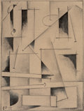 Fine Art - Work on Paper:Drawing, Efim Moissejewitsch Rojak (Russian, 1906-1987). SuprematistComposition, 1922. Pencil and ink wash on paper. 8 x 6 inche...