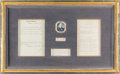 Military & Patriotic:Spanish American War, William McKinley: Treaty with Spain Framed Display....