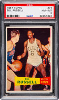 Basketball Cards:Singles (Pre-1970), 1957 Topps Bill Russell #77 Rookie PSA NM-MT 8....