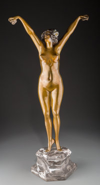 Claire Jeanne Roberte Colinet (French, 1883-1969) Andalusian Dancer Bronze with polychrome 17-1/2