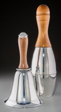 Decorative Arts, Continental, Two Chromed and Wooden Cocktail Shakers: Bowling Pin, Bell, 20thcentury. 15 inches high (38.1 cm). ... (Total: 2 Items)