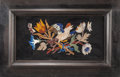 Decorative Arts, Continental:Other , A Framed Pair of Pietra Dura Plaques with Bird Motifs. 22 x 14inches (55.9 x 35.6 cm) (frame). ... (Total: 2 Items)