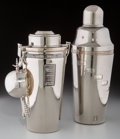 Decorative Arts, Continental, Two Chromed Cocktail Shakers with Associated Jigger, 20th century.10-1/2 inches high (26.7 cm) (tallest). ... (Total: 3 Items)