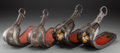 Asian:Japanese, Two Pairs of Japanese Lacquered and Inlaid Metal AbumiStirrups, 19th century. 12 inches long (30.5 cm). ... (Total: 4Items)