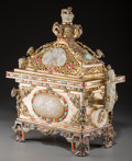 Asian:Chinese, A Chinese Gilt Metal, Jade, and Hardstone Covered Censer. 16-1/8 hx 14-1/2 w x 8 d inches (41.0 x 36.8 x 20.3 cm). ...