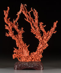 A Large Chinese Carved Coral Group with Avian Motifs on Carved Wood Stand 19-3/4 inches high x 17-1/2 inches wide