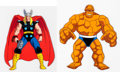 Animation Art:Production Cel, The Fantastic Four The Thing and Thor Production Cel Group of 2 (Marvel Films, 1995).. ... (Total: 2 )