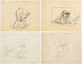 Animation Art:Production Drawing, Fleischer/Famous Studios Animation Drawings Group of 6 (Fleischer Studios, c. 1930-50s).... (Total: 6 Original Art)