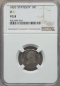 Bust Dimes, 1820 10C STATESOF, JR-1, R.4, VG8 NGC. NGC Census: (1/13). PCGSPopulation: (0/5). CDN: $90 Whsle. Bid for problem-free NGC...