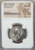 Ancients:Roman Provincial , Ancients: SYRIA. Antioch. Nerva (AD 96-98). AR tetradrachm. NGCChoice VF, Fine Style, scuff....