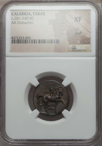 Ancients: CALABRIA. Tarentum. Ca. 281-240 BC. AR stater or didrachm. NGC XF, scuff