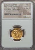 Ancients:Byzantine, Ancients: Heraclius (AD 610-641), with Heraclius Constantine (AD613-641). AV solidus (4.51 gm). NGC MS 3/5 - 4/5. ...