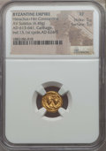 Ancients:Byzantine, Ancients: Heraclius (AD 613-641), with Heraclius Constantine. AVsolidus (4.48 gm). NGC XF 5/5 - 5/5....
