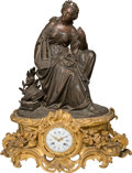 Clocks & Mechanical:Clocks, A Leon Marchand Napoleon III Patinated and Gilt Bronze Mantle Clock, late 19th century. Mark to clock face: L MARCHAND, A ...