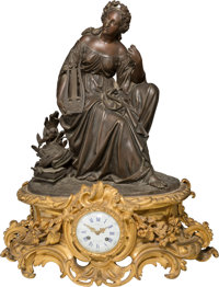 A Leon Marchand Napoleon III Patinated and Gilt Bronze Mantle Clock, late 19th century Mark to clock face: L MA