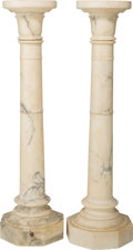 Decorative Arts, Continental, A Carved Marble Column, late 19th century. 43-3/4 inches high(111.1 cm). ... (Total: 2 Items)