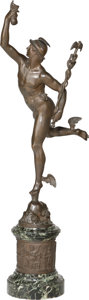 Bronze:European, A Large Bronze Figure of Mercury, after Giambologna. Marks: Jeande Bologne. 40-3/4 inches high (103.5 cm). ...