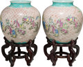 Asian:Chinese, Two Large Chinese Polychrome Porcelain Jars on Rosewood Stands,20th century. Marks: (character mark to underside). 17 inche...(Total: 4 Items)