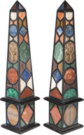 Decorative Arts, Continental:Other , A Large Pair of Specimen Marble Obelisks, late 20th century. 39-3/4inches high (101.0 cm). ... (Total: 2 Items)