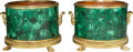Decorative Arts, Continental, A Pair of Malachite Veneered and Gilt Bronze-Mounted Jardinières,21st century. 10-7/8 inches high x 15-1/2 inches wide (27....(Total: 2 Items)