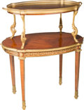Furniture : French, A Louis XVI-Style Gilt Bronze Mounted Kingwood Two-Tier Tea Tablewith Removable Tray. 37-1/2 h x 31-1/2 w x 21-3/4 d inches...