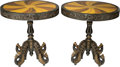 Furniture , A Pair of English Colonial-Style Inlaid Side Tables, 21st century. 31 inches high x 30-1/8 inches diameter (78.7 x 76.5 cm)... (Total: 2 Items)