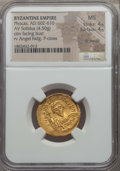 Ancients:Byzantine, Ancients: Phocas (AD 602-610). AV solidus (4.50 gm). NGC MS 4/5 -4/5, light marks....