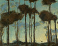 Fine Art - Painting, American:Modern  (1900 1949)  , Charles Rollo Peters (American, 1862-1928). Light Beyond theTrees. Oil on canvas laid on board. 25-1/2 x 32 inches (64....