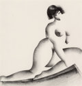 Fine Art - Work on Paper:Drawing, William S. Schwartz (American, 1896-1977). Seated Nude,1928. Crayon on paper. 14-1/2 x 14 inches (36.8 x 35.6 cm) (sigh...