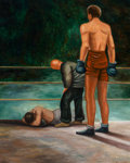 Fine Art - Painting, American:Modern  (1900 1949)  , Paul Raphael Meltsner (American, 1905-2005). The Knockout, JoeLouis vs. Max Schmeling. Oil on board. 30 x 24 inches (76...