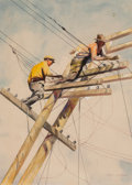 Fine Art - Work on Paper:Watercolor, Stanley M. Long (American, 1892-1972). Men at Work on PowerLines. Watercolor and pencil on board. 19-1/2 x 14 inches (4...