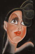 Fine Art - Work on Paper:Drawing, Wheeler (American, 20th Century). Gypsie Rose Lee, caricaturefrom the Brown Derby Resturaunt. Pastel on black paper. 18...