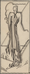 Fine Art - Work on Paper:Drawing, Artist Unknown (20th Century). Woman in Field, fashionadvertisement for I. Magnin department store. Ink and pencil onp...