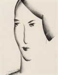 Fine Art - Work on Paper:Drawing, William S. Schwartz (American, 1896-1977). Head of a Woman.Crayon on paper. 11-3/4 x 9 inches (29.8 x 22.9 cm) (sight)...
