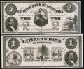 Obsoletes By State:Louisiana, New Orleans, LA- Citizens' Bank of Louisiana $1; $2 18__. ... (Total: 2 notes)