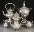 Silver Holloware, British, A Six-Piece English Silver-Plated Tea and Coffee Service, circa1900. Marks: (various marks). 19-3/4 inches high (50.2 cm) (...(Total: 6 Items)